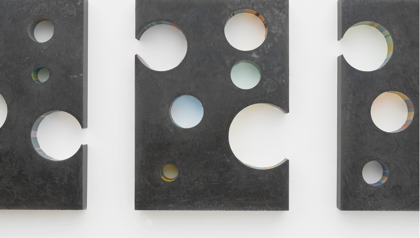 The art piece Tira is a wall sculpture made out of a steel and enamel measuring 60x28x3 inches h made by Chad Manley
