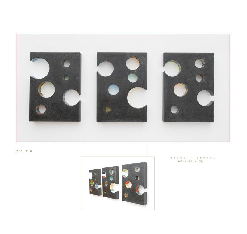 The art piece Tira is a wall sculpture made out of a steel and enamel measuring 60 x 28 x 3 inches h made by Chad Manley