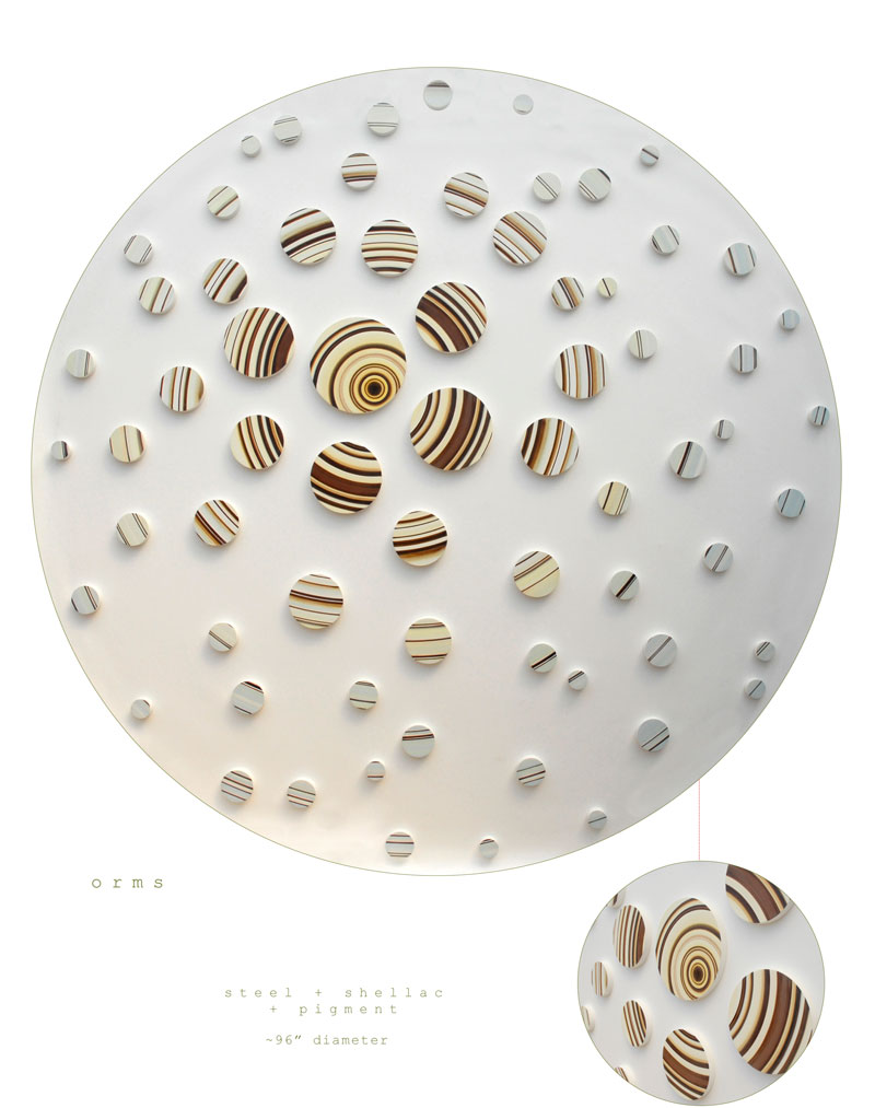 The art piece Orms is a wall sculpture made out of steel, shellac, and pigment measuring 96 inch dia made by Chad Manley